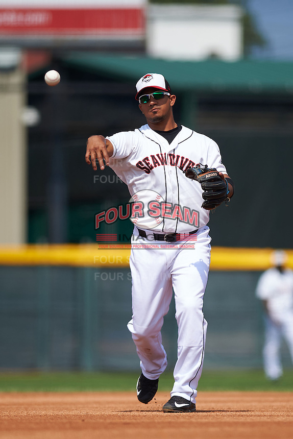 Erie Seawolves second baseman Alberto Gonzalez (10) throws to first during a game against the Harrisburg Senators on August 30, 2015 at Jerry Uht Park in Erie, Pennsylvania.  Harrisburg defeated Erie 4-3.  (Mike Janes/Four Seam Images)