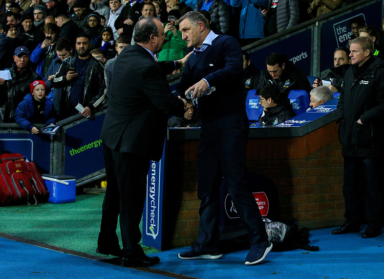 Blackburn Rovers manager Tony Mowbray greets Newcastle United manager Rafa Benítez before kickoff<br /> <br /> Photographer Alex Dodd/CameraSport<br /> <br /> Emirates FA Cup Third Round Replay - Blackburn Rovers v Newcastle United - Tuesday 15th January 2019 - Ewood Park - Blackburn<br />  <br /> World Copyright © 2019 CameraSport. All rights reserved. 43 Linden Ave. Countesthorpe. Leicester. England. LE8 5PG - Tel: +44 (0) 116 277 4147 - admin@camerasport.com - www.camerasport.com