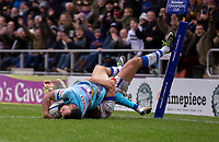 Exeter Chiefs' Tom O'Flaherty scores his sides fourth try<br /> <br /> Photographer Bob Bradford/CameraSport<br /> <br /> European Rugby Heineken Champions Cup Pool 2 - Exeter Chiefs v Castres - Sunday 13th January 2019 - Sandy Park - Exeter<br /> <br /> World Copyright © 2019 CameraSport. All rights reserved. 43 Linden Ave. Countesthorpe. Leicester. England. LE8 5PG - Tel: +44 (0) 116 277 4147 - admin@camerasport.com - www.camerasport.com