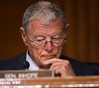 "United States Senator Jim Inhofe (Republican of Oklahoma) listens to opening remarks at a hearing titled ""Oversight of the Environmental Protection Agency"" in the Dirksen Senate Office Building on May 20, 2020 in Washington, DC. Andrew Wheeler, Administrator, United States Environmental Protection Agency (EPA) will be asked about the rollback of regulations by the Environment Protection Agency since the pandemic started in March.     <br /> Credit: Kevin Dietsch / Pool via CNP/AdMedia"