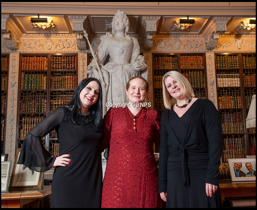 BNPS.co.uk (01202 558833)<br /> Pic: PhilYeomans/BNPS<br /> <br /> Blenheim Archivist Dr Alexa Frost(r) The Favourite author Ophelia Field and TV historian Dr Janina Ramirez(l) in front of a marble statue of Queen Anne at Blenheim.<br /> <br /> Paper trail - As Olivia Coleman wins the best actress Oscar for her acclaimed portrayal of Queen Anne, a fascinating newly discovered document at Blenheim Palace reveals her very private account's, meticulously kept by Sarah Churchill, Duchess of Marlborough.<br /> <br /> The hand written ledger gives an astonishing insight into the Royal court depicted in 'The Favourite' movie.<br /> <br /> Mysterious payments of several thousand pounds in modern money are listed, including 'to the mad spaniard', 'to Mr M, by order of the Queen, for Secret Service' and even 'to release a prisoner'.<br /> <br /> Also revealed is an astonishing £11,000 bill for chocolate, and a similar one for tea, both were extremely fashionable and expensive new drinks at the time.<br /> <br /> The newly discovered accounts offer an intimate glimpse inside the court of Queen Anne.