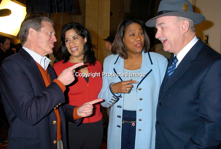 "NBC Reporters, Terry Ruggles, Leydia Esparza, Karyn Greer and Arch Campbell ..at the Auditions for the 2nd season of ""the Apprentice"" on ..Marvh 18,2 004 at The Trump Building on Wall Street. ..Photo by Robin Platzer, Twin Images"