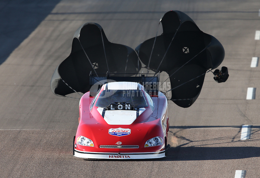 Feb. 23, 2013; Chandler, AZ, USA; NHRA funny car driver Phil Burkhart Jr during qualifying for the Arizona Nationals at Firebird International Raceway. Mandatory Credit: Mark J. Rebilas-