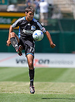 Chris Wondolowski brings down the ball. San Jose Earthquakes defeated LA Galaxy 2-1 at the Oakland-Alameda County Coliseum in Oakland, California on June 20, 2009.