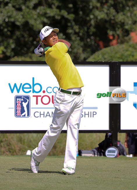 15 OCT 01  Japanese rookie Hiroshi Iwata enjoying Saturday's Third Round of the WEB.com Championship at The TPC Sawgrass Valley Course in Ponte Vedra Beach, Florida.(photo credit : kenneth e. dennis/kendennisphoto.com)