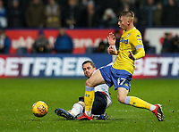 Bolton Wanderers' Andrew Taylor tackles Leeds United's  Jack Clarke<br /> <br /> Photographer Andrew Kearns/CameraSport<br /> <br /> The EFL Sky Bet Championship - Bolton Wanderers v Leeds United - Saturday 15th December 2018 - University of Bolton Stadium - Bolton<br /> <br /> World Copyright &copy; 2018 CameraSport. All rights reserved. 43 Linden Ave. Countesthorpe. Leicester. England. LE8 5PG - Tel: +44 (0) 116 277 4147 - admin@camerasport.com - www.camerasport.com