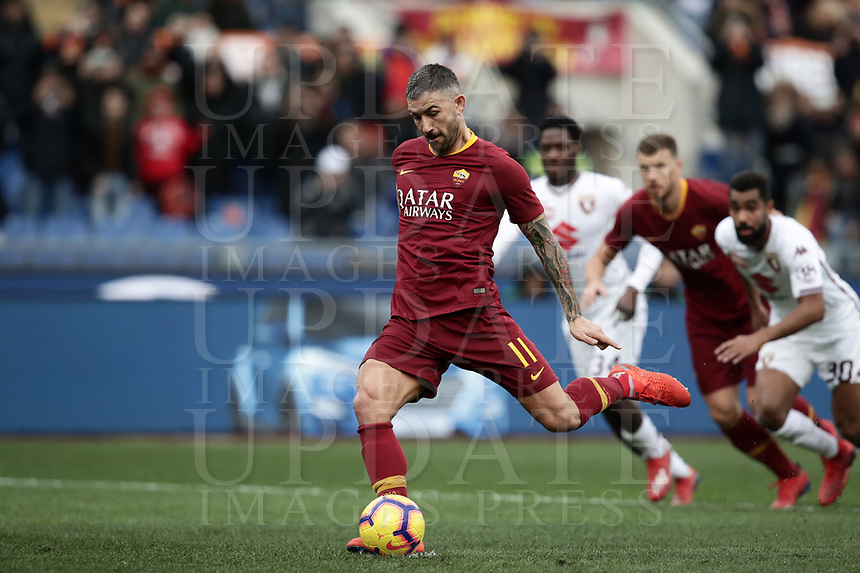 Football, Serie A: AS Roma - Torino, Olympic stadium, Rome, January 19, 2019. <br /> Roma&rsquo;s Aleksandar Kolarov kicks a penalty and scores during the Italian Serie A football match between AS Roma and Torino at Olympic stadium in Rome, on January 19, 2019.<br /> UPDATE IMAGES PRESS/Isabella Bonotto