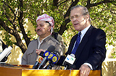 United States Secretary of Defense Donald H. Rumsfeld and Massoud Barzani conduct a press conference in Sala Huddin, Iraq, on April 12, 2005.  Rumsfeld earlier met with Barzani and other leaders of the Kurdish Democratic Party to discuss points of mutual interest. Rumsfeld is in Iraq to visit with United States and coalition forces and to meet with the newly elected members of the Iraqi government. <br /> Mandatory Credit: Cherie A. Thurlby / U.S. Air Force via CNP