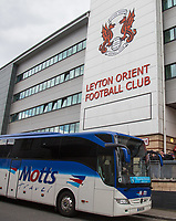 The Wycombe players coach sits outside the stadium ahead of the Sky Bet League 2 match between Leyton Orient and Wycombe Wanderers at the Matchroom Stadium, London, England on 1 April 2017. Photo by Andy Rowland.