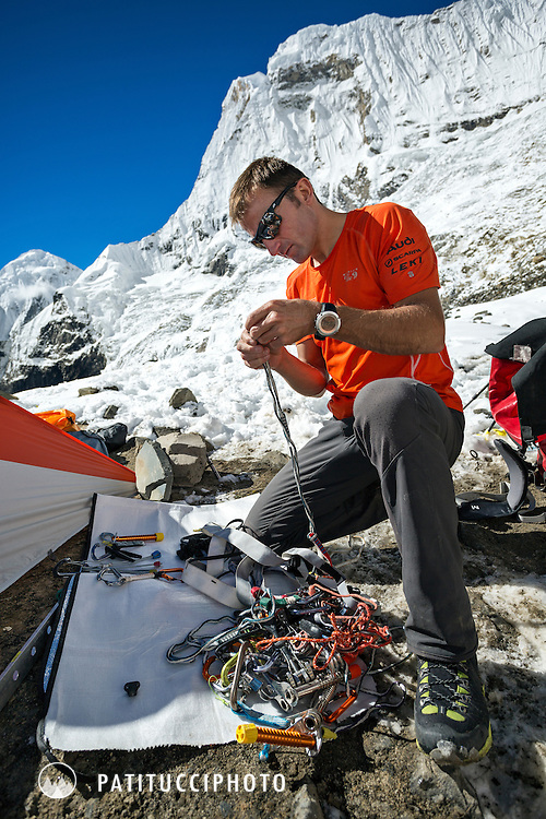 Ueli Steck returned to Nepal and the Annapurna south face in 2013 which he climbed solo, without oxygen, in one 28 hour alpine push, via a new route. The trip was his third attempt to climb the 8000 meter peak. Ueli packing and preparing his climbing gear.