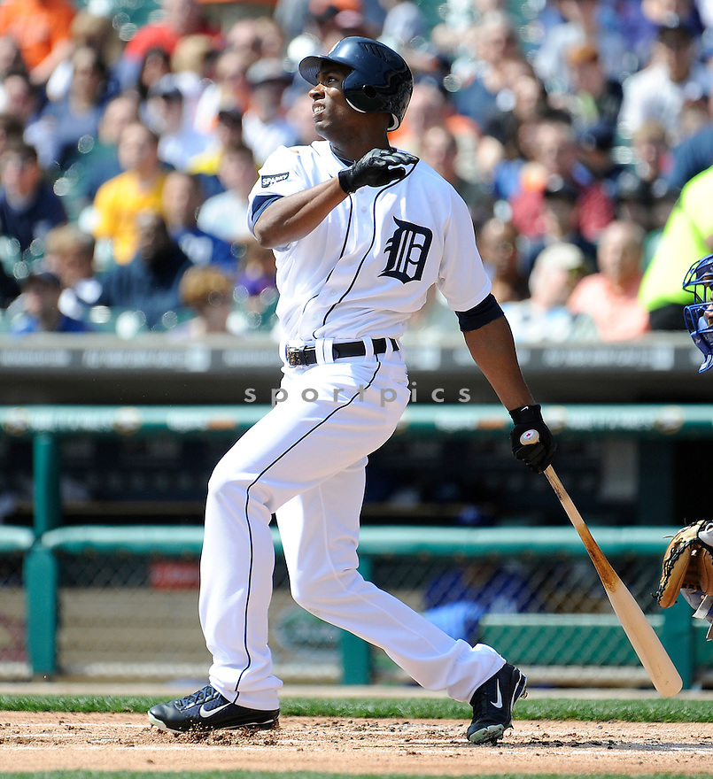 AUSTIN JACKSON, of the Detroit Tigers, in action during the Tigers game against the Kansas City Royals on April 10, 2011 at Comerica Park in Detroit, Michigan.  The Royals beat the Tigers 9-0.