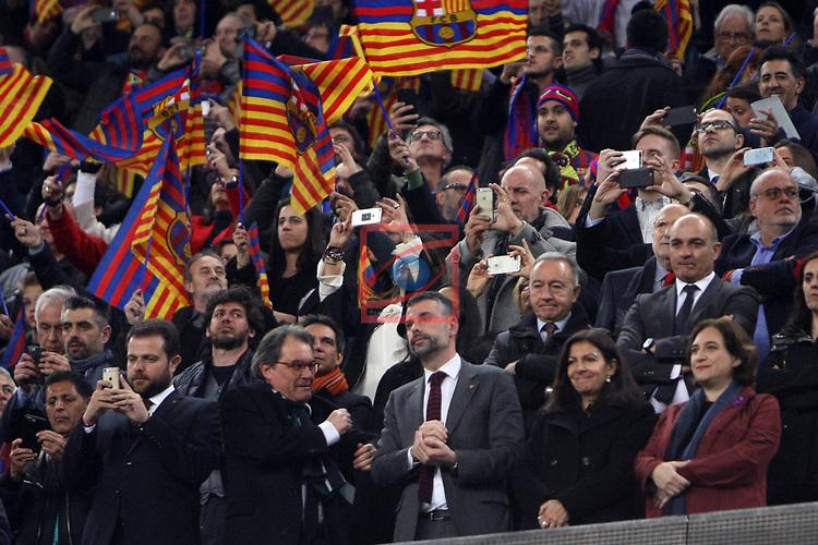 UEFA Champions League 2016/2017.<br /> Round of 16 2nd leg<br /> FC Barcelona vs Paris Saint-Germain: 6-1.<br /> Gerard Figueras, Artur Mas, Santi Vila, Anne Hidalgo &amp; Ada Colau.