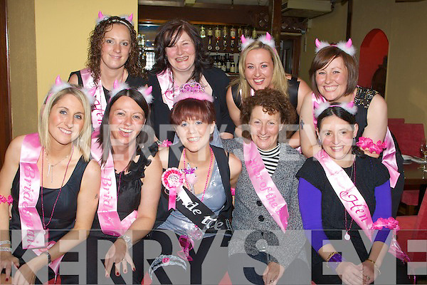 HEN: Having an early lunch were friends of Sheila Angland who held her hen party in Killarney Treyvard Bar & Restaurant, High Street, Killarney on Saturday. Front l-r: Anne Angland, Jennifer Williams, Sheila Angland(bride to be), Sheila Angland 9mother0 and Marie O'Connor. Back l-r: Elaine Doyle,Nollaig Marmood,Caroline O'Sullivan and Cathy O'Sullivan...