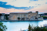 The chateau in Collioure harbour. Collioure. Roussillon. France. Europe.