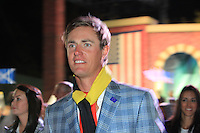 Winning European Player Nicolas Colsaerts (BEL) leaves the Closing Ceremony after Sunday's Singles Matches of the 39th Ryder Cup at Medinah Country Club, Chicago, Illinois 30th September 2012 (Photo Colum Watts/www.golffile.ie)