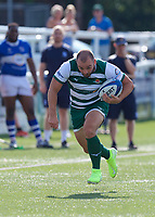 Jordan Burns of Ealing Trailfinders during the 2019/20 Pre Season Friendly match between Ealing Trailfinders and Bishop's Stortford at Castle Bar , West Ealing , England  on 24 August 2019. Photo by Alan  Stanford / PRiME Media images