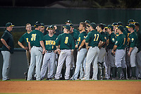 Siena Saints team meeting after a game against the Stetson Hatters on February 23, 2016 at Melching Field at Conrad Park in DeLand, Florida.  Stetson defeated Siena 5-3.  (Mike Janes/Four Seam Images)