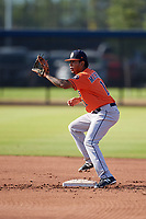 Houston Astros Arturo Michelena (11) during practice before a Minor League Spring Training Intrasquad game on March 28, 2018 at FITTEAM Ballpark of the Palm Beaches in West Palm Beach, Florida.  (Mike Janes/Four Seam Images)