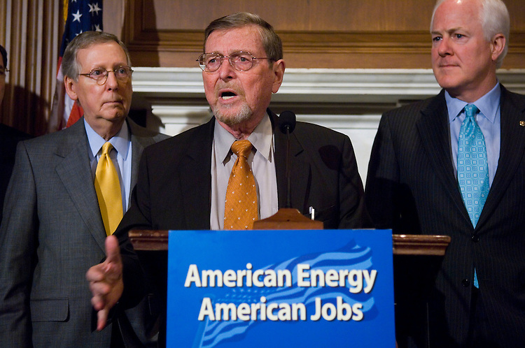 WASHINGTON, DC - May 01: Senate Majority Leader Mitch McConnell, R-Ky., Senate Energy ranking member Pete V. Domenici, R-N.M., and Sen. John Cornyn, R-Texas, during a news conference introducing the American Energy Production Act of 2008, aimed at increasing domestic energy production Included in the legislation is a provision by Senator Jim Bunning to establish a program for coal-to-liquid fuels. (Photo by Scott J. Ferrell/Congressional Quarterly)