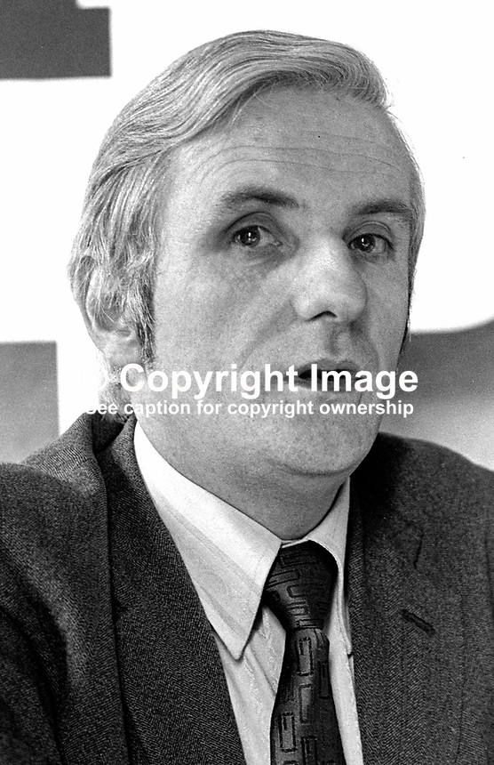 John Duffy, general secretary, SDLP, Social Democratic &amp; Labour Party, N Ireland, 197304030176JD1.<br /> <br /> Copyright Image from Victor Patterson,<br /> 54 Dorchester Park, <br /> Belfast, UK, BT9 6RJ<br /> <br /> t1: +44 28 9066 1296 (from Rep of Ireland 048 9066 1296)<br /> t2: +44 28 9002 2446 (from Rep of Ireland 048 9002 2446)<br /> <br /> m: +44 7802 353836<br /> <br /> e: victorpatterson@me.com<br /> www.victorpatterson.com<br /> <br /> Please see my Terms and Conditions of Use at www.victorpatterson.com. It is IMPORTANT that you familiarise yourself with them.<br /> <br /> Images used on the Internet must be visibly watermarked i.e. &copy; Victor Patterson<br /> within the body of the image and copyright metadata must not be deleted. Images <br /> used on the Internet have a size restriction of 4kbs and will be chargeable at current<br />  NUJ rates unless agreed otherwise.<br /> <br /> This image is only available for the use of the download recipient i.e. television station, newspaper, magazine, book publisher, etc, and must not be passed on to any third <br /> party. It is also downloaded on condition that each and every usage is notified within 7 days to victorpatterson@me.com<br /> <br /> The right of Victor Patterson to be identified as the author is asserted in accordance with The Copyright Designs And Patents Act (1988). All moral rights are asserted.