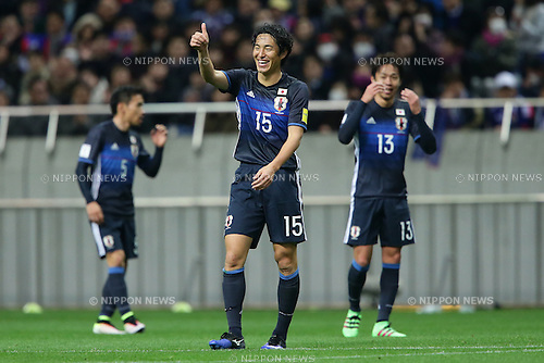Mu Kanazaki (JPN), March 24, 2016 - Football / Soccer : Mu Kanazaki of Japan celebrates after scoring his team's fifth goal (his first goal) during the 2018 FIFA World Cup Russia & AFC Asian Cup UAE 2019 Preliminary Joint Qualification-Round2 match between Japan and Afghanistan at Saitama Stadium 2002 in Saitama, Japan (Photo by AFLO)