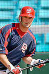 18 March 2006: Brian Schneider, catcher for the Washington Nationals, takes batting practice for the first time since returning from his WBC appearance with Team USA, prior to a Spring Training game against the New York Mets. The Nationals defeated the Mets 10-2 at Space Coast Stadium, in Viera, Florida...Mandatory Photo Credit: Ed Wolfstein..