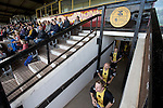 The home players emerge from their dressing room on to the pitch at Shielfield Park, before the Scottish League Two fixture between Berwick Rangers and East Stirlingshire. The home club occupied a unique position in Scottish football as they are based in Berwick-upon-Tweed, which lies a few miles inside England. Berwick won the match by 5-0, watched by a crowd of 509.