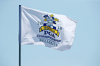 A flag commemorating the 100th PGA flies over the first hole during the third round of the 100th PGA Championship at Bellerive Country Club, St. Louis, Missouri, USA. 8/11/2018.<br /> Picture: Golffile.ie | Brian Spurlock<br /> <br /> All photo usage must carry mandatory copyright credit (&copy; Golffile | Brian Spurlock)
