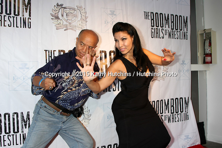 "LOS ANGELES - JUL 23:  Grand Master Eric Lee, Crystal Santos at the ""The Boom Boom Girls of Wrestling"" Premiere at the Downtown Independent Theater on July 23, 2015 in Los Angeles, CA"