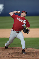 Colton Hock #16 of the Stanford Cardinal pitches against the Cal State Fullerton Titans at Goodwin Field on February 19, 2017 in Fullerton, California. Stanford defeated Cal State Fullerton, 8-7. (Larry Goren/Four Seam Images)