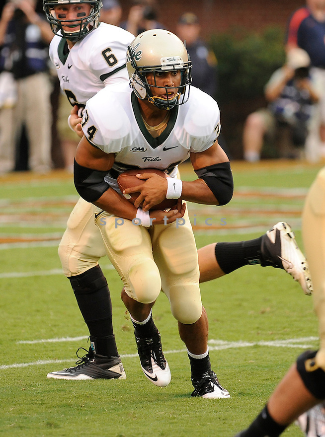 JONATHAN GRIMES, of William and Mary, in action during William and Mary's game against Virginia on September 3, 2011 at  Scott Stadium in Charlottesville, Virginia. Virginia beat William & Mary 40-3.
