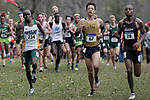 EVANSVILLE, IN - NOVEMBER 18: Ronald Cheserek (234) of Saint Leo University, McMarshall Hartzenburg (67) of California Baptist University and Leakey Kipkosgei (28) of American International College lead a pack of runners during the Division II Men's Cross Country Championship held at the Angel Mounds on November 18, 2017 in Evansville, Indiana. (Photo by Tim Broekema/NCAA Photos/NCAA Photos via Getty Images)