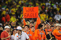 Jan 10, 2011; Glendale, AZ, USA; An Auburn Tigers fan holds a sign in the crowd against the Oregon Ducks during the 2011 BCS National Championship game at University of Phoenix Stadium. The Tigers defeated the Ducks 22-19. Mandatory Credit: Mark J. Rebilas-