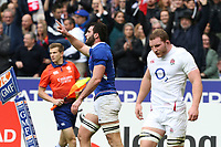 2nd February 2020, Stade de France, Paris; France, 6-Nations International rugby union, France versus England;  Charles Ollivon (France) celebrates scoring his try