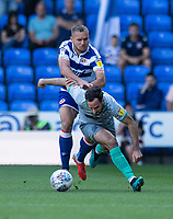 Reading's George Puscas (left) battles for possession with Blackburn Rovers' Greg Cunningham (right) <br /> <br /> Photographer David Horton/CameraSport<br /> <br /> The EFL Sky Bet Championship - Reading v Blackburn Rovers - Saturday 21st September 2019 - Madejski Stadium - Reading<br /> <br /> World Copyright © 2019 CameraSport. All rights reserved. 43 Linden Ave. Countesthorpe. Leicester. England. LE8 5PG - Tel: +44 (0) 116 277 4147 - admin@camerasport.com - www.camerasport.com