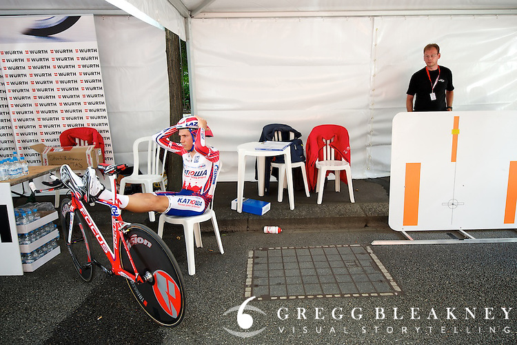 """Alexander Pliuschin won the """"most chilled out"""" in the ITT tent award--this taken just minutes before his start."""