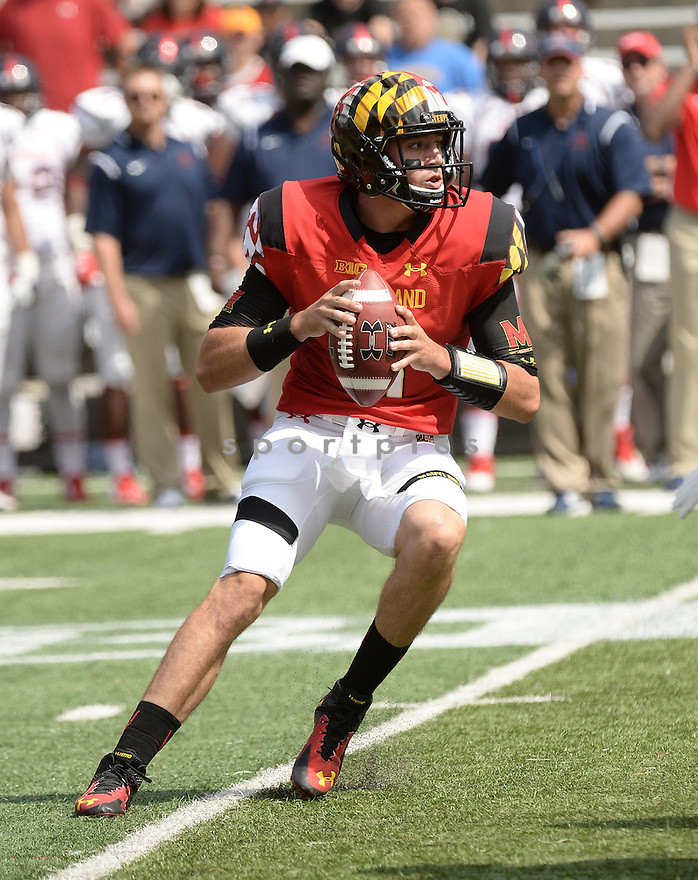 Maryland Terrapins Perry Hills (11) during a game against the Richmond Spiders on September 5 2015 at Byrd Stadium in College Park, MD. Maryland beat Richmond 51-21.