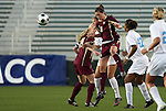 07 November 2008: Boston College's Caitlin Hiler (8) and North Carolina's Courtney Jones (84). The University of North Carolina Tarheels defeated Boston College Eagles 2-0  at WakeMed Stadium at WakeMed Soccer Park in Cary, NC in a women's ACC tournament semifinal game.