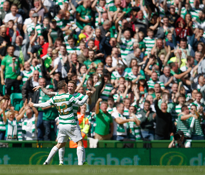 Callum McGregor scores for Celtic and celebrates with Johnny Hayes