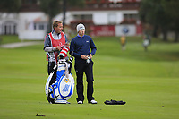 Matthew Fitzpatrick (ENG) caddy Jamie on the 17th hole during Sunday's fog delayed Round 3 of the 2017 Omega European Masters held at Golf Club Crans-Sur-Sierre, Crans Montana, Switzerland. 10th September 2017.<br /> Picture: Eoin Clarke | Golffile<br /> <br /> <br /> All photos usage must carry mandatory copyright credit (&copy; Golffile | Eoin Clarke)