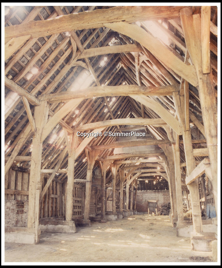 BNPS.co.uk (01202 558833)<br /> Pic: SummerPlaceAuctions/BNPS<br /> <br /> ***Please Use Full Byline***<br /> <br /> An image of the barn before it was dismantled. <br /> <br />  This huge 17th century barn which has gone on the market for £100,000 has been dubbed the ultimate flat pack challenge for any Ikea fan.<br /> <br /> The enormous structure, made from dozens of solid oak beams, will be delivered to any buyer completely dismantled.<br /> <br /> But DIY-phobes need not worry - there's no sign of an Allen key, a set of picture instructions or a cheap hot dog in sight.<br /> <br /> The historic barn stood for 350 years on a country estate until it was dismantled and sold to a brewery 25 years ago.<br /> <br /> It has been in storage until recently when it was listed for sale following a change of heart by the brewery.<br /> <br /> It will be auctioned at Summers Place auction house at Billingshurst, West Sussex on October 22.