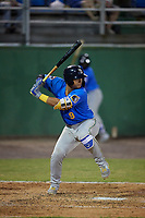 Myrtle Beach Pelicans Miguel Amaya (9) at bat during a Carolina League game against the Potomac Nationals on August 14, 2019 at Northwest Federal Field at Pfitzner Stadium in Woodbridge, Virginia.  Potomac defeated Myrtle Beach 7-0.  (Mike Janes/Four Seam Images)