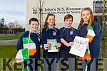 Pupils from St John's National School in Kenmare are travelling to Greece this week to take help promote their town as part of an European entrepreneurial project. <br /> L-r Dara Casey, Jasmine Durkin, Daniel O'Reilly (Logo designer) and Grace Roberts White.