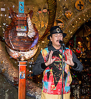 LAS VEGAS, NV - January 16 : Carlos Santana   pictured as House of Blues Las Vegas unveils 13-foot high guitar sculpture ?Wings of Legend? that will commemorate the return of Carlos Santana's residency: An Intimate Evening with Santana: Greatest Hits Live - Yesterday, Today & Tomorrow and continue the 20th Anniversary celebration of the House of Blues brand at House of Blues at Mandalay Bay in Las Vegas, Nevada on January 16, 2013. Credit: Kabik/Starlitepics/MediaPunch Inc. ***HOUSE COVERAGE*** /NortePhoto