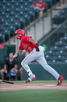AZL Angels shortstop Jeremiah Jackson (8) starts down the first base line during an Arizona League game against the AZL Diamondbacks at Tempe Diablo Stadium on June 27, 2018 in Tempe, Arizona. AZL Angels defeated the AZL Diamondbacks 5-3. (Zachary Lucy/Four Seam Images)