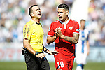 Sevilla FC's Vitolo have words with the referee Daniel Ocon Arraiz during La Liga match. October 15,2016. (ALTERPHOTOS/Acero)