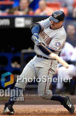 3 April 2006: Nick Johnson, first baseman for the Washington Nationals at bat during Opening Day against the New York Mets at Shea Stadium, in Flushing, New York. The Mets defeated the Nationals 3-2 to lead off the 2006 MLB season...Mandatory Photo Credit: Ed Wolfstein Photo..