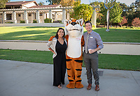 Robin Hamilton '08, Jordan Brown '13 and Oswald<br /> Explore Occidental - Fall Preview Day, Friday, November 9, 2018.<br /> Fall open house to give prospective students and their families the opportunity to explore Occidental with tours of campus, student and faculty-led discussions, the ability to sit in on a class, and to learn what it means to be an Oxy Tiger.<br /> (Photo by Marc Campos, Occidental College Photographer)