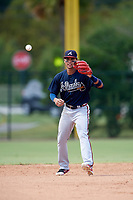 Atlanta Braves Derian Cruz (4) during an Instructional League game against the Philadelphia Phillies on October 9, 2017 at the Carpenter Complex in Clearwater, Florida.  (Mike Janes/Four Seam Images)