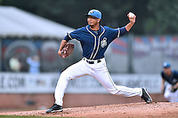 Asheville Tourists pitcher Yoely Bello (16) delivers a pitch during a game against the Hickory Crawdads on July 23, 2015 in Asheville, North Carolina. The Crawdads defeated the Tourists 8-6. (Tony Farlow/Four Seam Images)